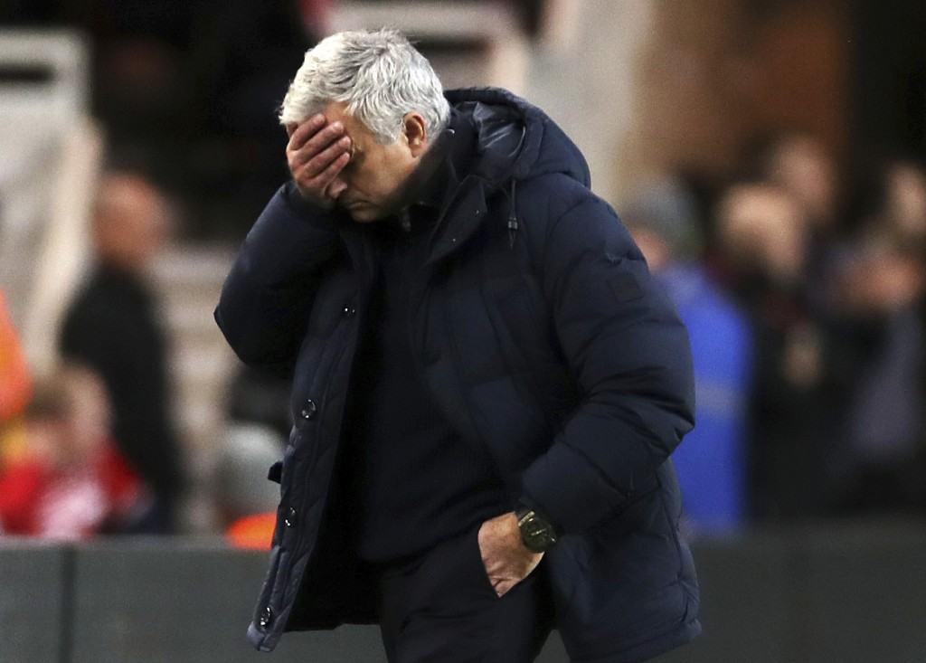 Tottenham Hotspur manager Jose Mourinho reacts during the game against Middlesbrough, during their English FA Cup third round match at the Riverside S...