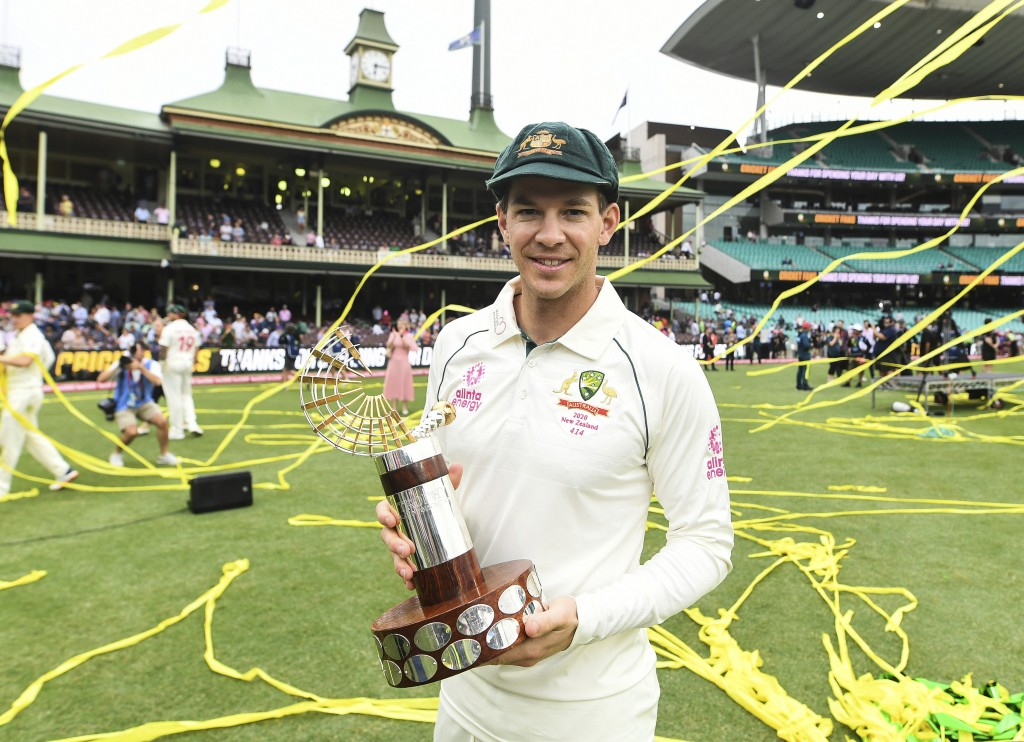 Australian captain Tim Paine with the trans tasman trophy after winning the test match and series on day four of the third cricket test match between ...