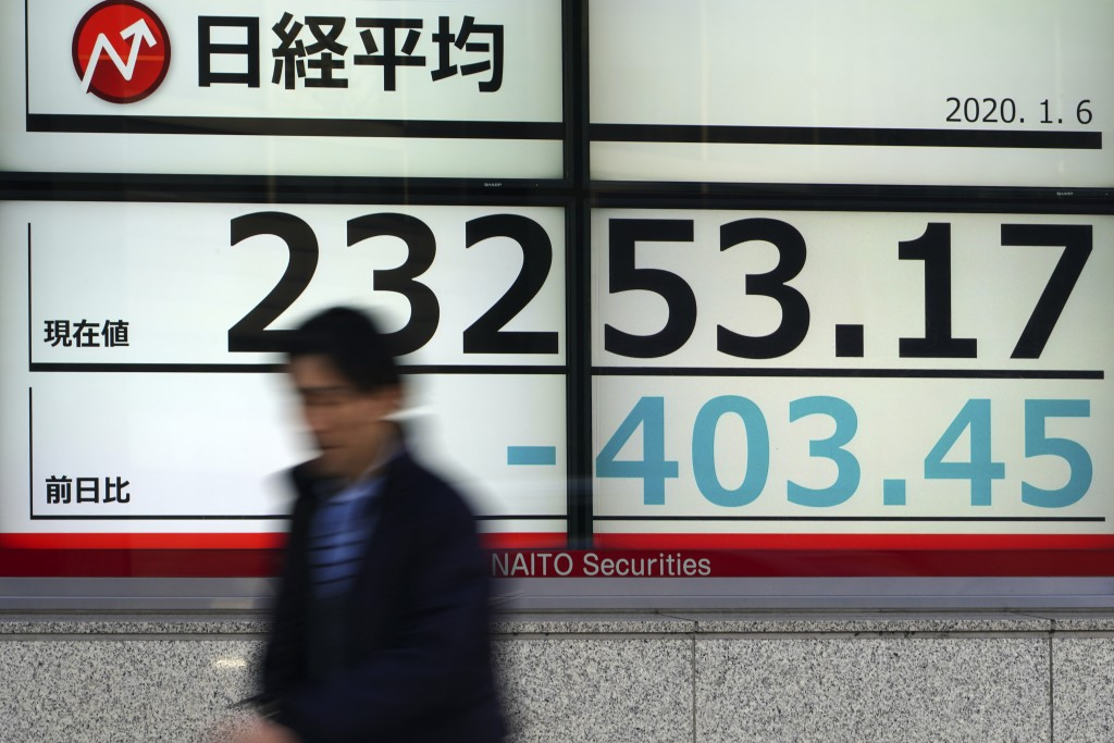 A man walks past at an electronic stock board showing Japan's Nikkei 225 index at a securities firm in Tokyo Monday, Jan. 6, 2020, in Tokyo, marking t...