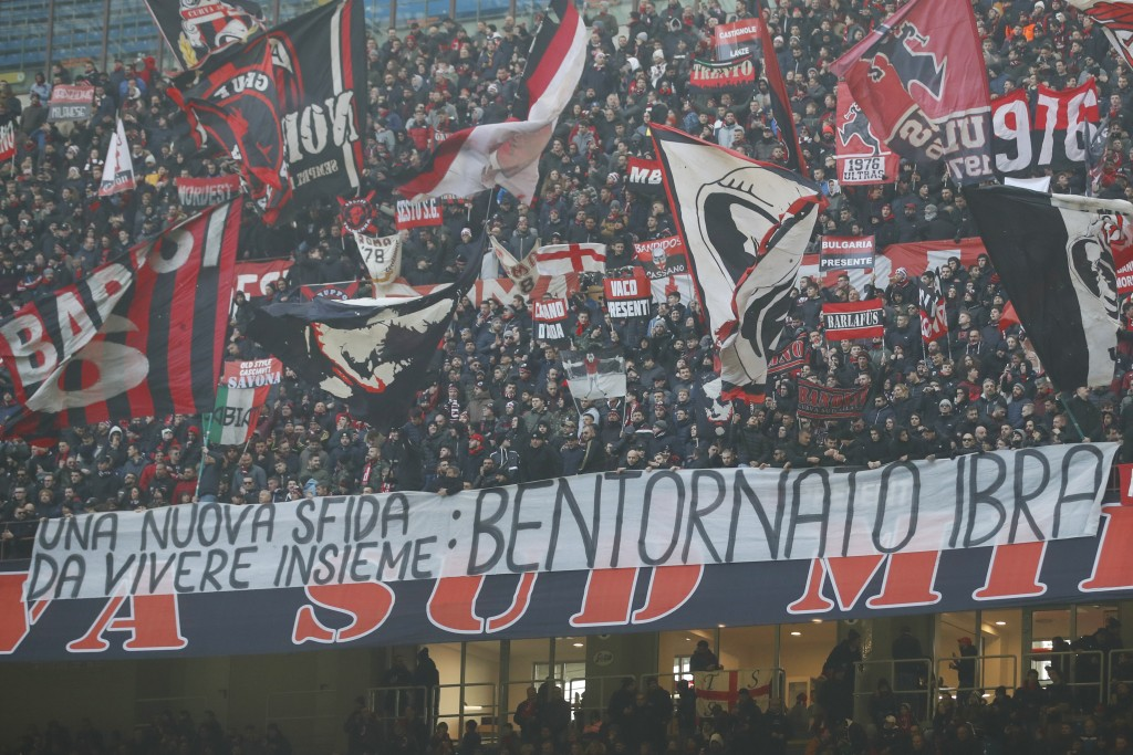 AC Milan's supporters show a banner for Ibrahimovic prior to the start of the Serie A soccer match between AC Milan and Sampdoria at the San Siro stad...
