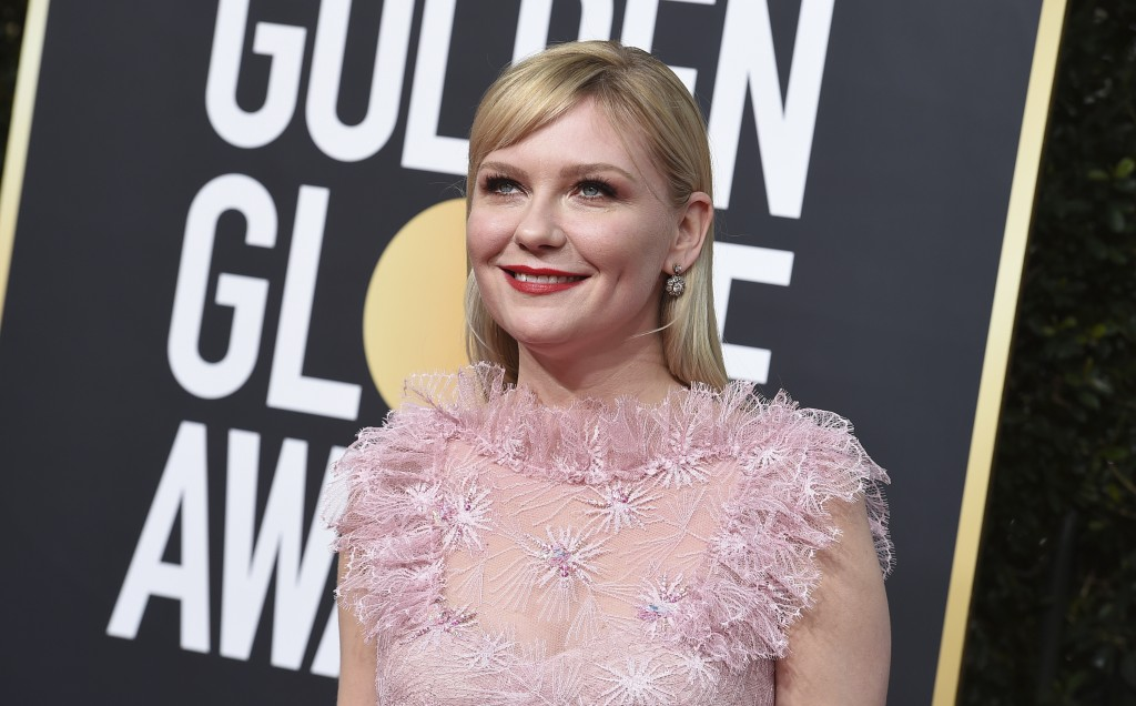 Kirsten Dunst arrives at the 77th annual Golden Globe Awards at the Beverly Hilton Hotel on Sunday, Jan. 5, 2020, in Beverly Hills, Calif. (Photo by J...