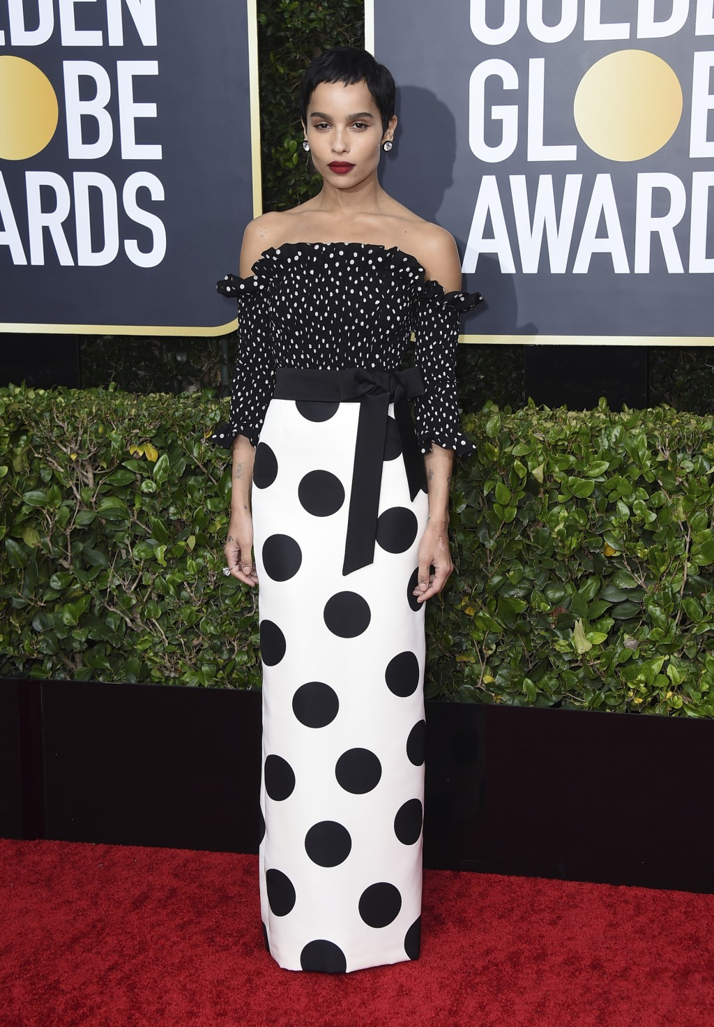 Zoe Kravitz arrives at the 77th annual Golden Globe Awards at the Beverly Hilton Hotel on Sunday, Jan. 5, 2020, in Beverly Hills, Calif. (Photo by Jor...