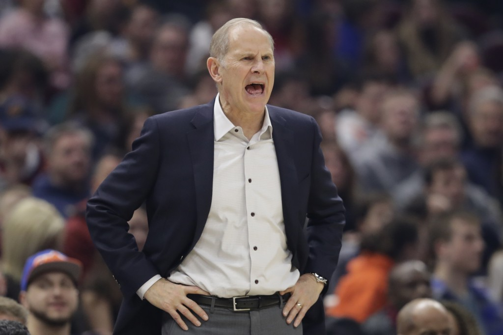 Cleveland Cavaliers head coach John Beilein yells instructions to players in the first half of an NBA basketball game against the Minnesota Timberwolv...