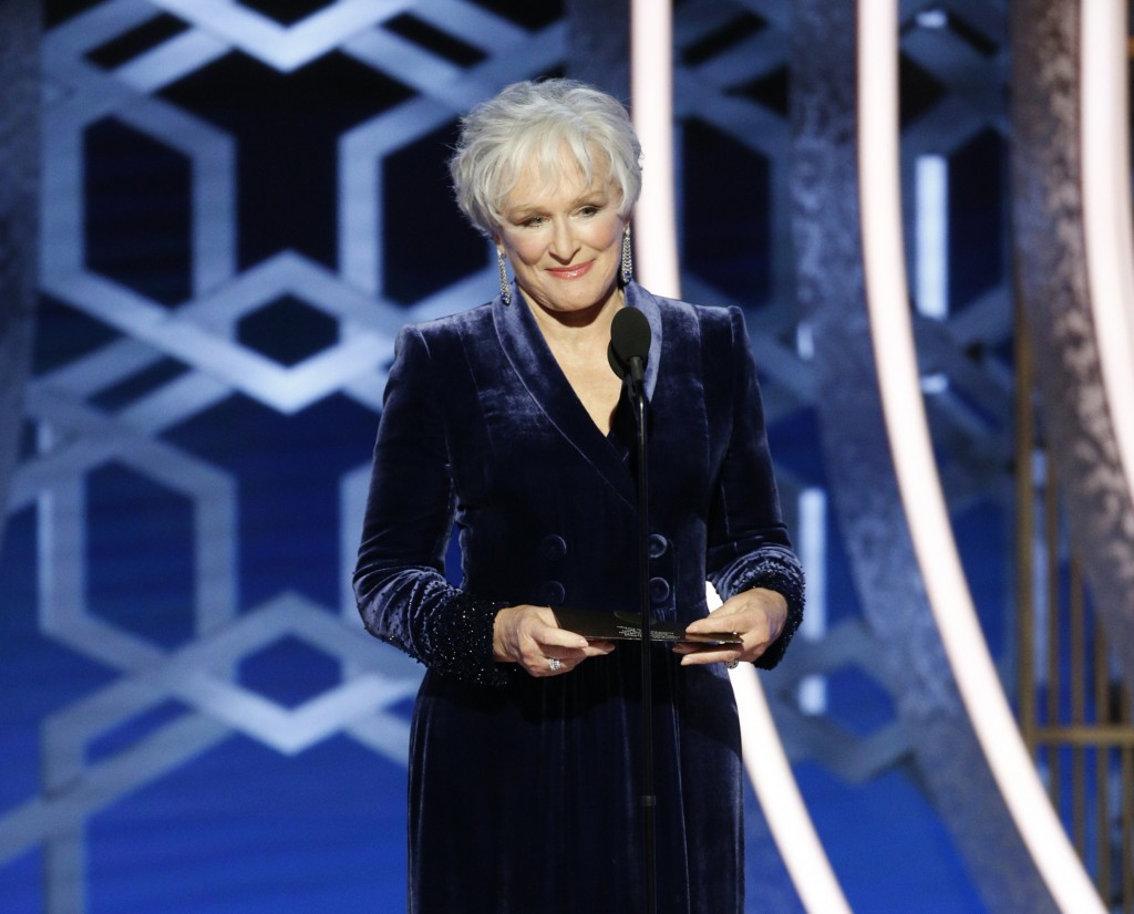 This image released by NBC shows presenter Glenn Close at the 77th Annual Golden Globe Awards at the Beverly Hilton Hotel in Beverly Hills, Calif., on...