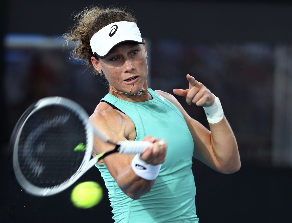Samantha Stosur of Australia plays a shot during her match against Angelique Kerber of Germany at the Brisbane International tennis tournament in Bris...