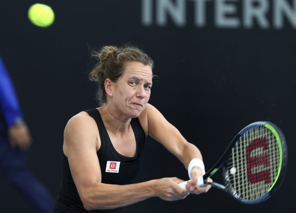 Barbora Strycova of the Czech Republic plays a shot during her match against Johanna Konta of Great Britain at the Brisbane International tennis tourn...