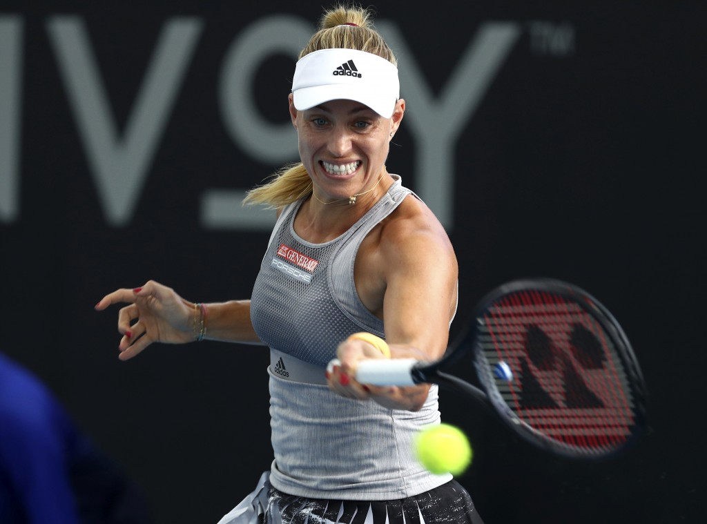 Angelique Kerber of Germany plays a shot during her match against Samantha Stosur of Australia at the Brisbane International tennis tournament in Bris...