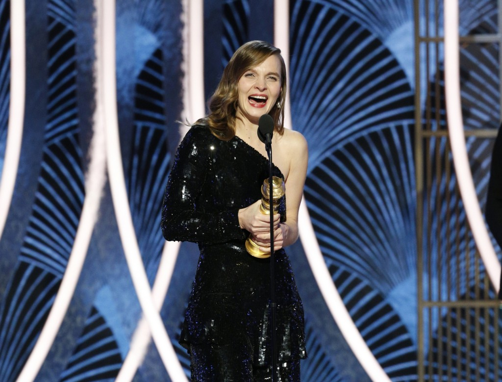 """This image released by NBC shows Hildur Gudnadottir accepting the award for best original score for """"Joker"""" at the 77th Annual Golden Globe Awards at ..."""