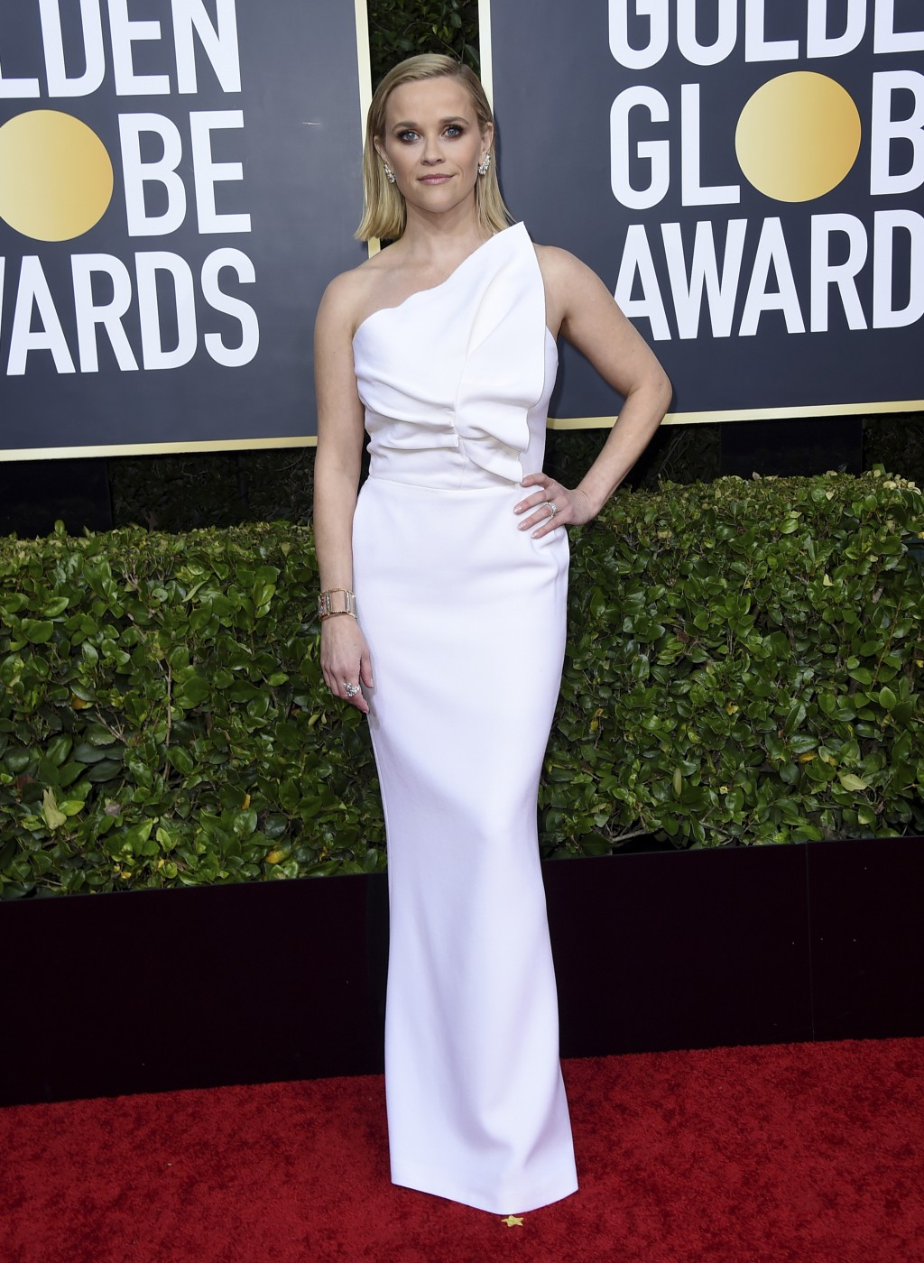 Reese Witherspoon arrives at the 77th annual Golden Globe Awards at the Beverly Hilton Hotel on Sunday, Jan. 5, 2020, in Beverly Hills, Calif. (Photo ...