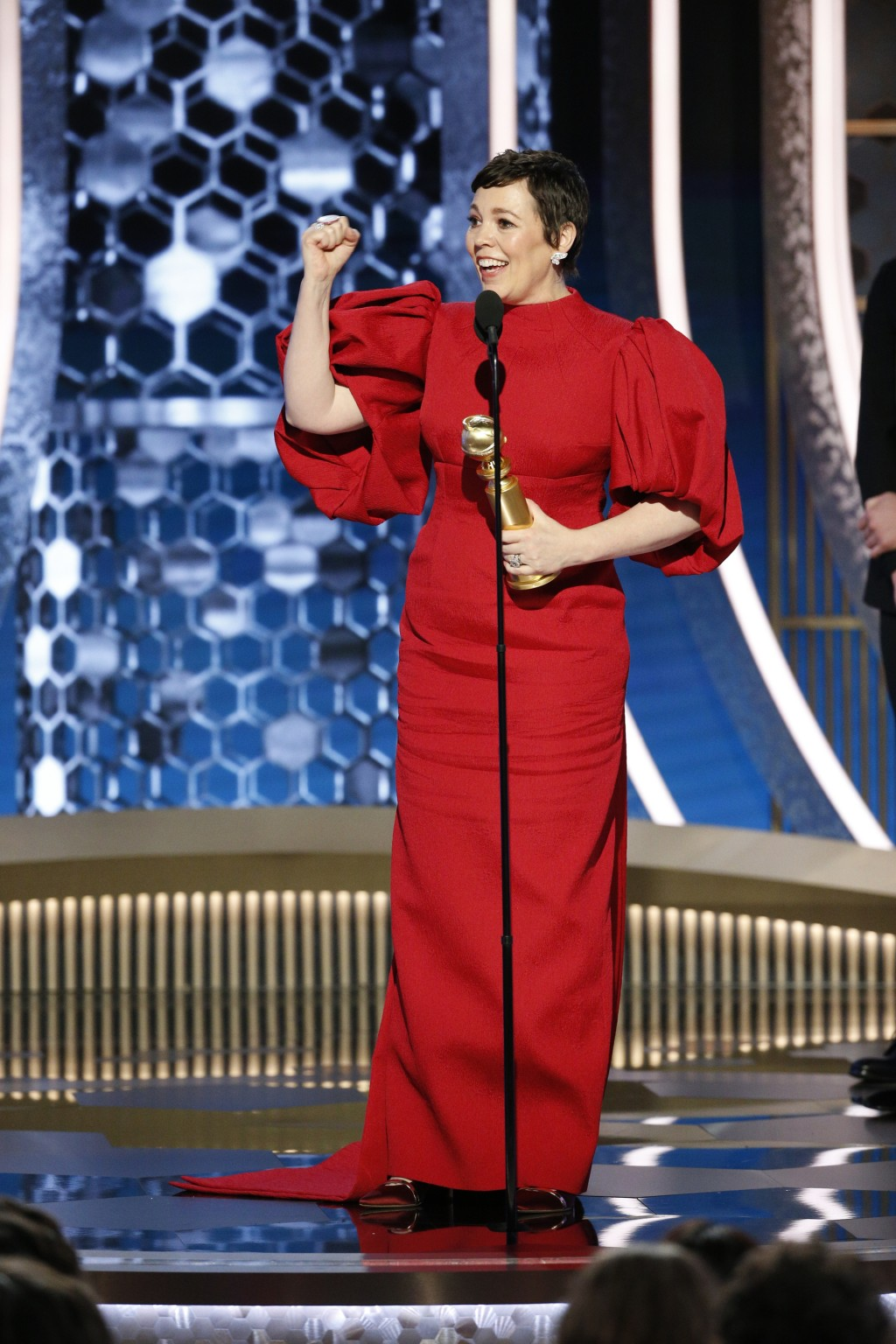 """This image released by NBC shows Olivia Colman accepting the award for best actress in a drama series for """"The Crown"""" at the 77th Annual Golden Globe ..."""