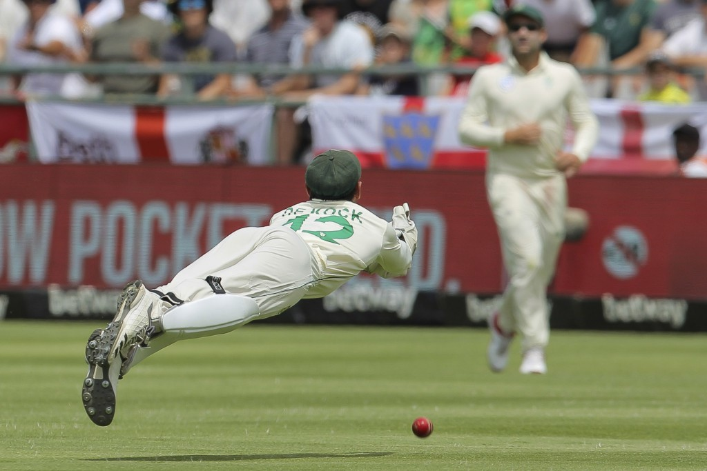 South Africa's Quinton de Kock misses a diving catch during day four of the second cricket test between South Africa and England at the Newlands Crick...