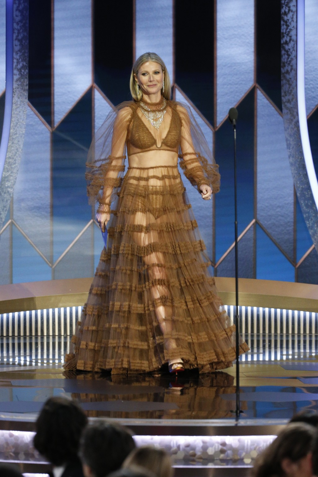 This image released by NBC shows presenter Gwyneth Paltrow at the 77th Annual Golden Globe Awards at the Beverly Hilton Hotel in Beverly Hills, Calif....