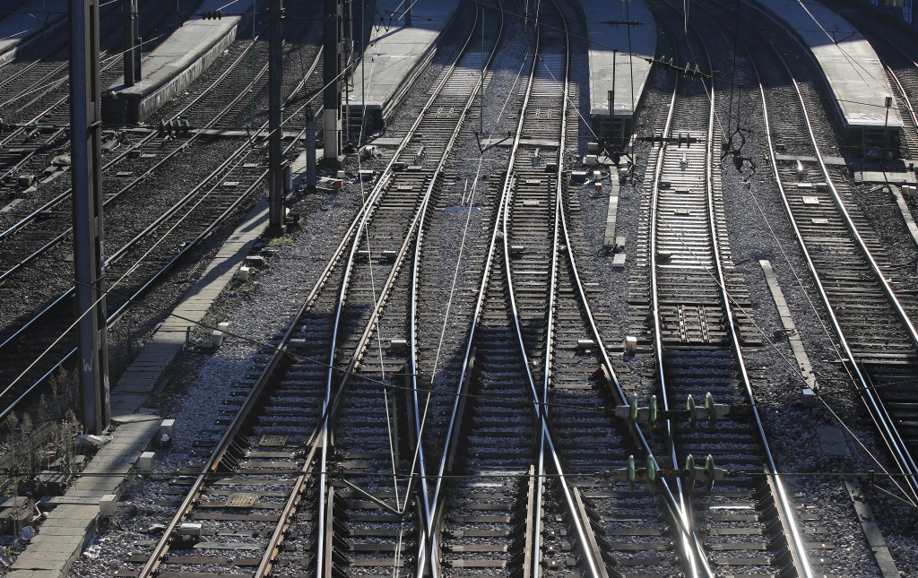Empty platform are pictured at the Gare Saint Lazare train station during 33rd day of transport strikes in Paris, Monday, Jan. 6, 2020. French Preside...