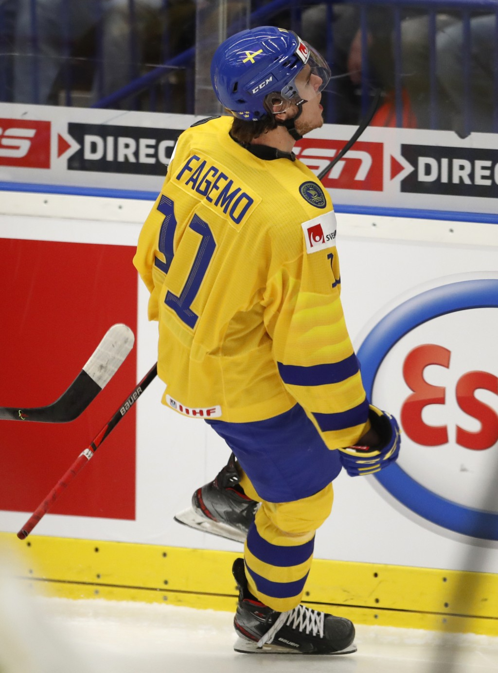 Sweden's Samuel Fagemo celebrates after scoring his sides second goal during the U20 Ice Hockey Worlds bronze medal match between Finland and Sweden i...