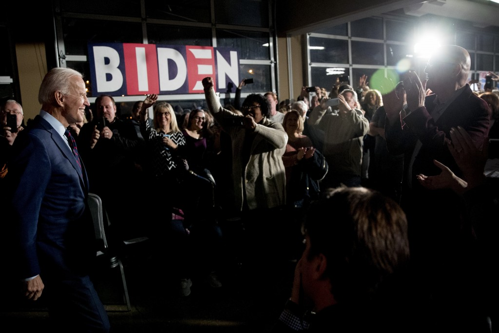 Democratic presidential candidate, former Vice President Joe Biden arrives at a campaign rally at Modern Woodmen Park, Sunday, Jan. 5, 2020, in Davenp...
