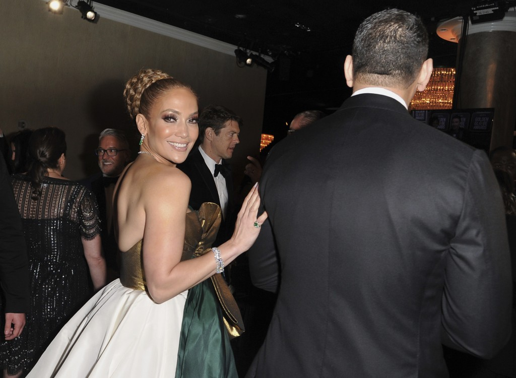 Jennifer Lopez, left, and Alex Rodriguez attend the 77th annual Golden Globe Awards at the Beverly Hilton Hotel on Sunday, Jan. 5, 2020, in Beverly Hi...