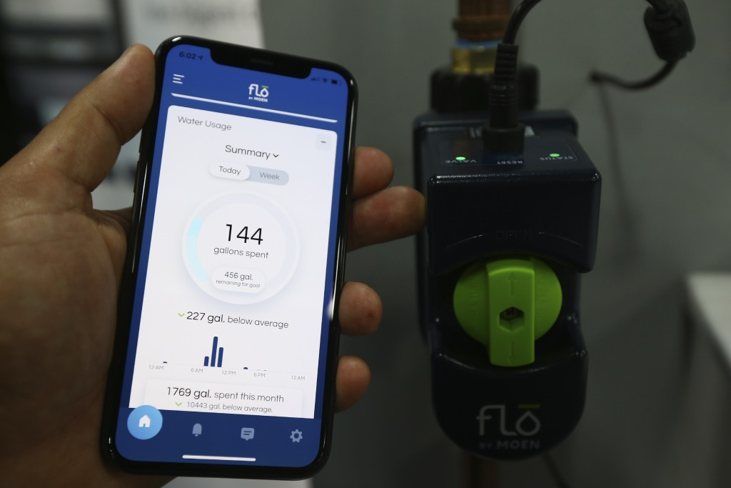 The Moen Flo water usage meter with latest app is shown here at the CES Unveiled media preview event, Sunday, Jan. 5, 2020, in Las Vegas. (AP Photo/Ro...