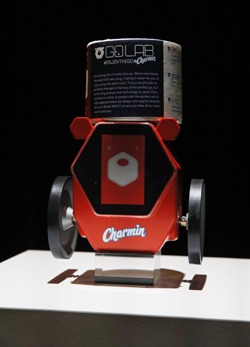 The Charmin RollBot is on display during a Procter & Gamble news conference before CES International, Sunday, Jan. 5, 2020, in Las Vegas. (AP Photo/Jo...