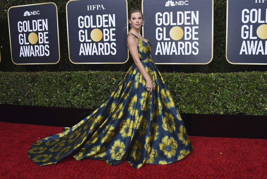 Taylor Swift arrives at the 77th annual Golden Globe Awards at the Beverly Hilton Hotel on Sunday, Jan. 5, 2020, in Beverly Hills, Calif. (Photo by Jo...