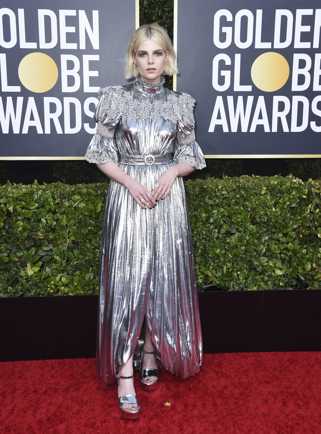 Lucy Boynton arrives at the 77th annual Golden Globe Awards at the Beverly Hilton Hotel on Sunday, Jan. 5, 2020, in Beverly Hills, Calif. (Photo by Jo...