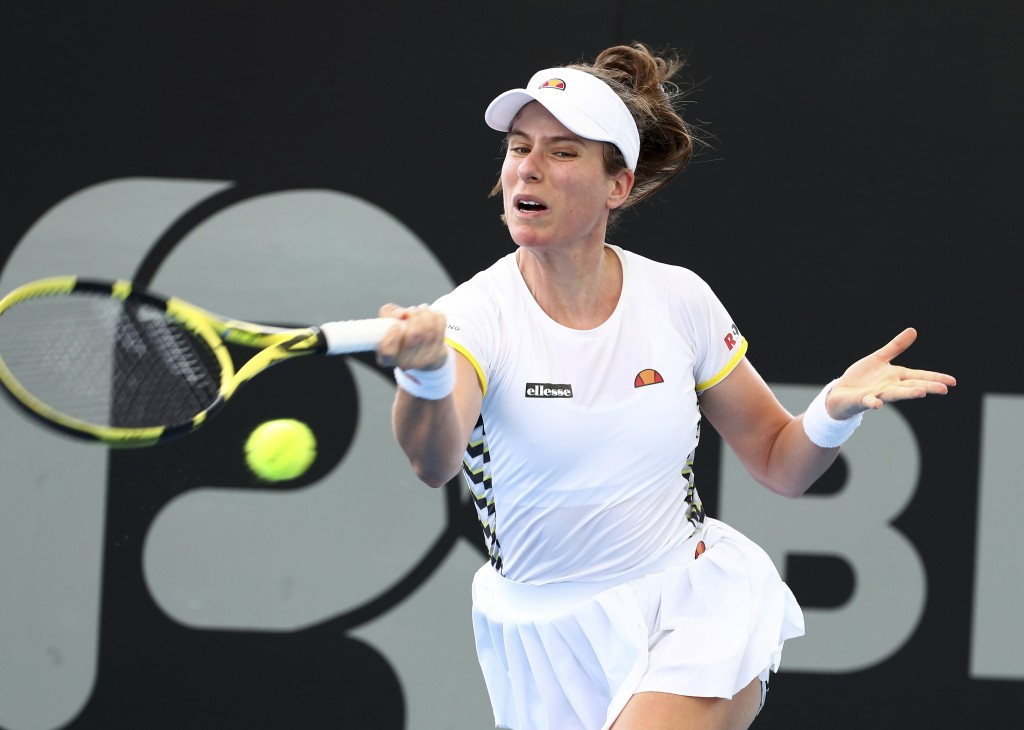 Johanna Konta of Great Britain plays a shot during her match against Barbora Strycova of the Czech Republic at the Brisbane International tennis tourn...