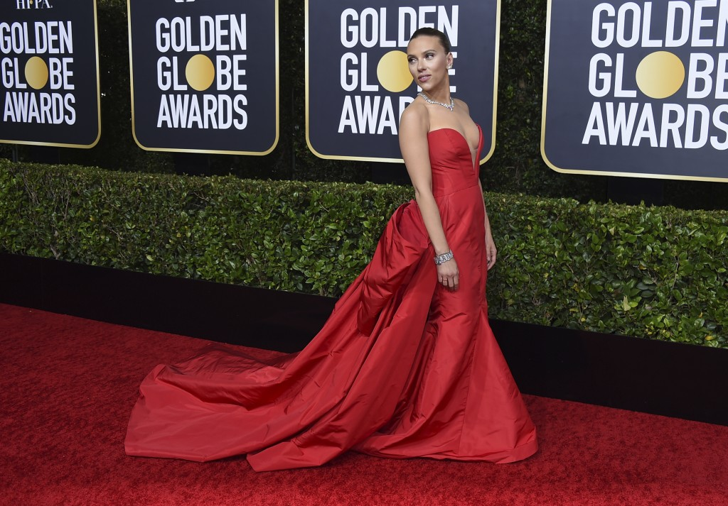 Scarlett Johansson arrives at the 77th annual Golden Globe Awards at the Beverly Hilton Hotel on Sunday, Jan. 5, 2020, in Beverly Hills, Calif. (Photo...