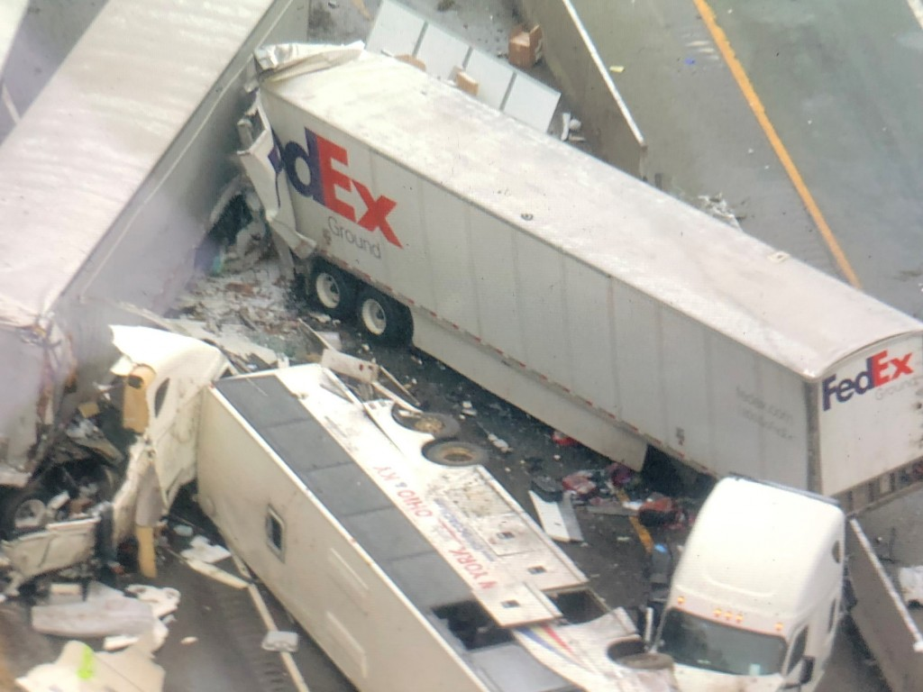 This image provided by KDKA TV shows the scene near Greensburg, Pa. along the Pennsylvania Turnpike where multiple people were killed and dozens were ...