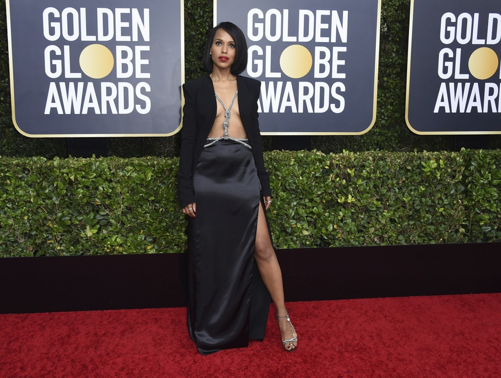 Kerry Washington arrives at the 77th annual Golden Globe Awards at the Beverly Hilton Hotel on Sunday, Jan. 5, 2020, in Beverly Hills, Calif. (Photo b...