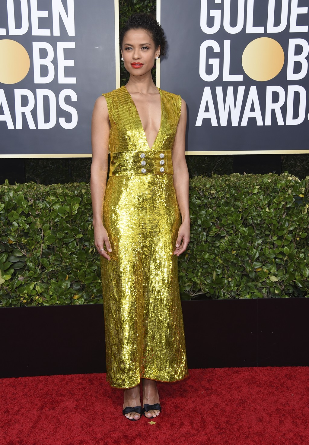 CORRECTS TO GUGU MBATHA-RAW INSTEAD OF NATHALIE EMMANUEL Gugu Mbatha-Raw arrives at the 77th annual Golden Globe Awards at the Beverly Hilton Hotel on...