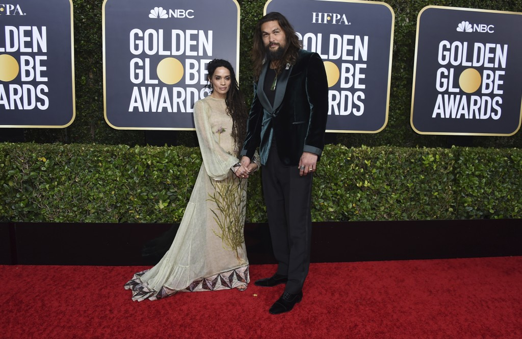 Lisa Bonet, left, and Jason Momoa arrive at the 77th annual Golden Globe Awards at the Beverly Hilton Hotel on Sunday, Jan. 5, 2020, in Beverly Hills,...