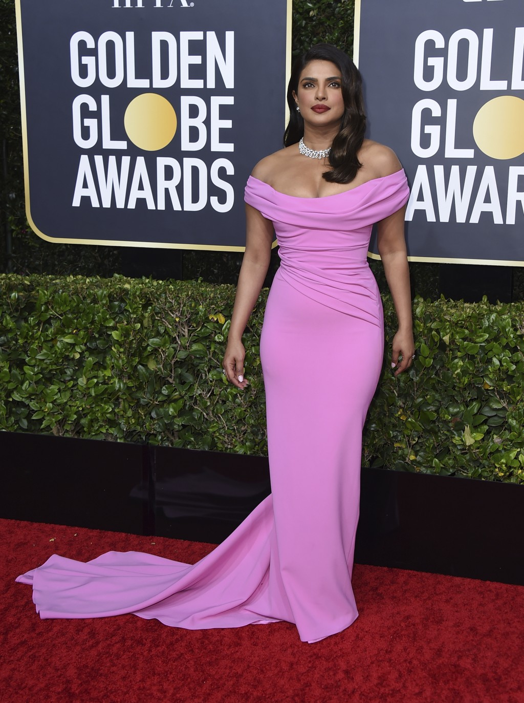 Priyanka Chopra arrives at the 77th annual Golden Globe Awards at the Beverly Hilton Hotel on Sunday, Jan. 5, 2020, in Beverly Hills, Calif. (Photo by...
