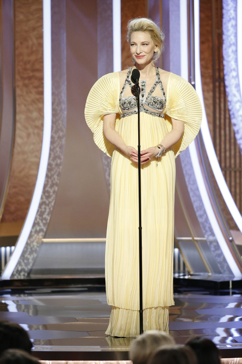 This image released by NBC shows presenter Cate Blanchett at the 77th Annual Golden Globe Awards at the Beverly Hilton Hotel in Beverly Hills, Calif.,...