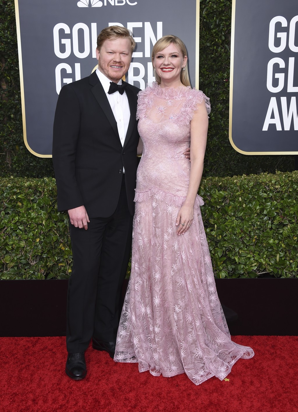 Kirsten Dunst, right, and Jesse Plemons arrive at the 77th annual Golden Globe Awards at the Beverly Hilton Hotel on Sunday, Jan. 5, 2020, in Beverly ...