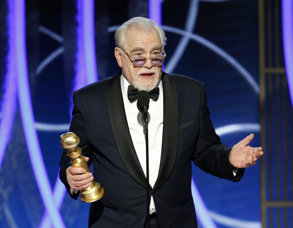 """This image released by NBC shows Brian Cox accepting the award for best actor in a drama series for """"Succession"""" at the 77th Annual Golden Globe Award..."""