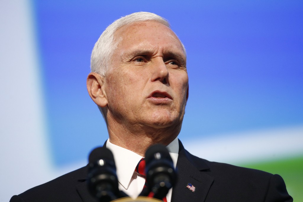 FILE - In this Oct. 21, 2019, file photo, Vice President Mike Pence speaks at the opening ceremony of the International Astronautical Congress, in Was...