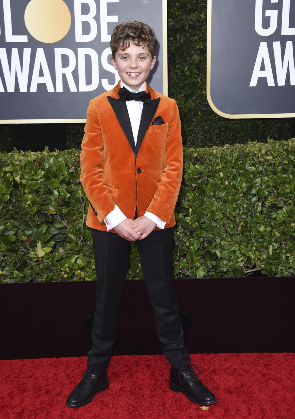 Roman Griffin Davis arrives at the 77th annual Golden Globe Awards at the Beverly Hilton Hotel on Sunday, Jan. 5, 2020, in Beverly Hills, Calif. (Phot...