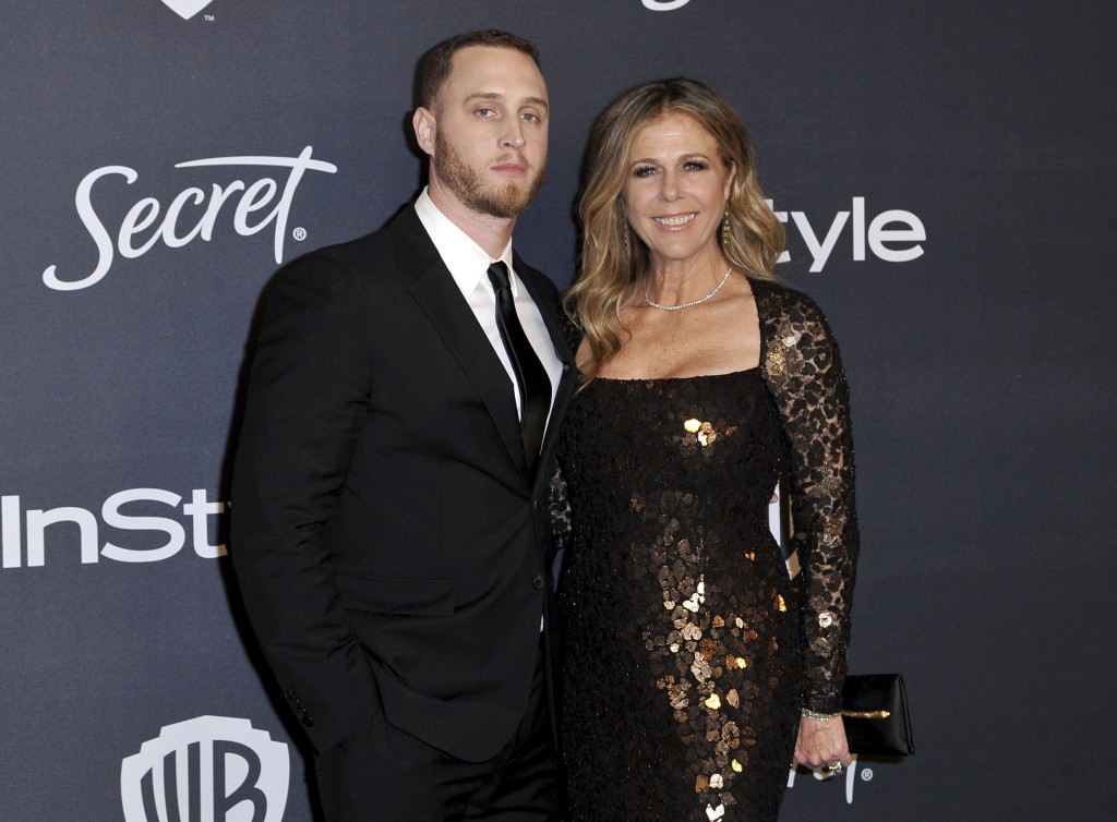 Chet Hanks, left, and Rita Wilson arrive at the InStyle and Warner Bros. Golden Globes afterparty at the Beverly Hilton Hotel on Sunday, Jan. 5, 2020,...