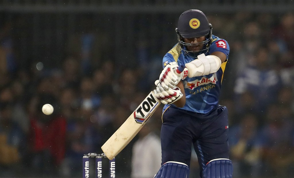 Sri Lanka's Avishka Fernando bats during the second Twenty20 international cricket match between India and Sri Lanka in Indore, India, Tuesday, Jan. 7...