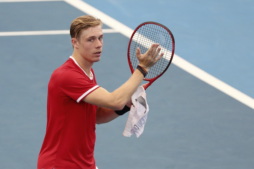 Denis Shapovalov of Canada reacts after winning his match against Alexander Zverev of Germany at the ATP Cup tennis tournament in Brisbane, Australia,...