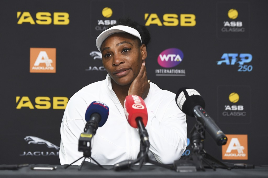 United States' Serena Williams attends a press conference after winning her first round singles match against Italy's Camila Giorgi at the ASB Classic...