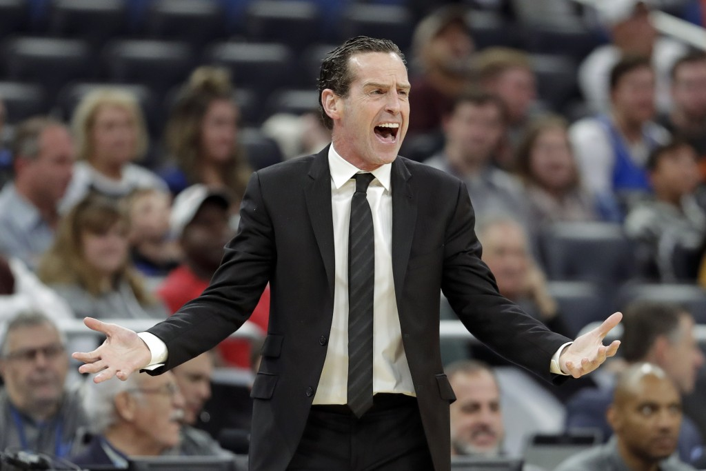 Brooklyn Nets head coach Kenny Atkinson directs his players during the second half of an NBA basketball game against the Orlando Magic, Monday, Jan. 6...