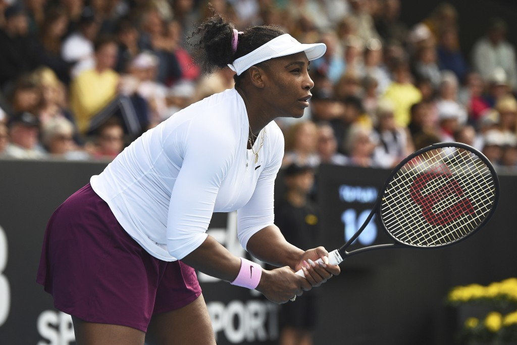 United States' Serena Williams plays her match against Italy's Camila Giorgi at the ASB Classic in Auckland, New Zealand, Tuesday, Jan. 7, 2020. (Chri...