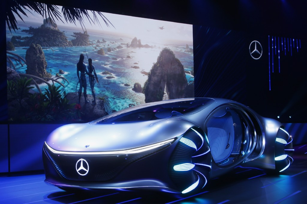 Daimler announces the world premiere of the Mercedes-Benz Vision AVTR concept car at the Daimler Keynote along with a sneak peek of the new Avatar 2 m...