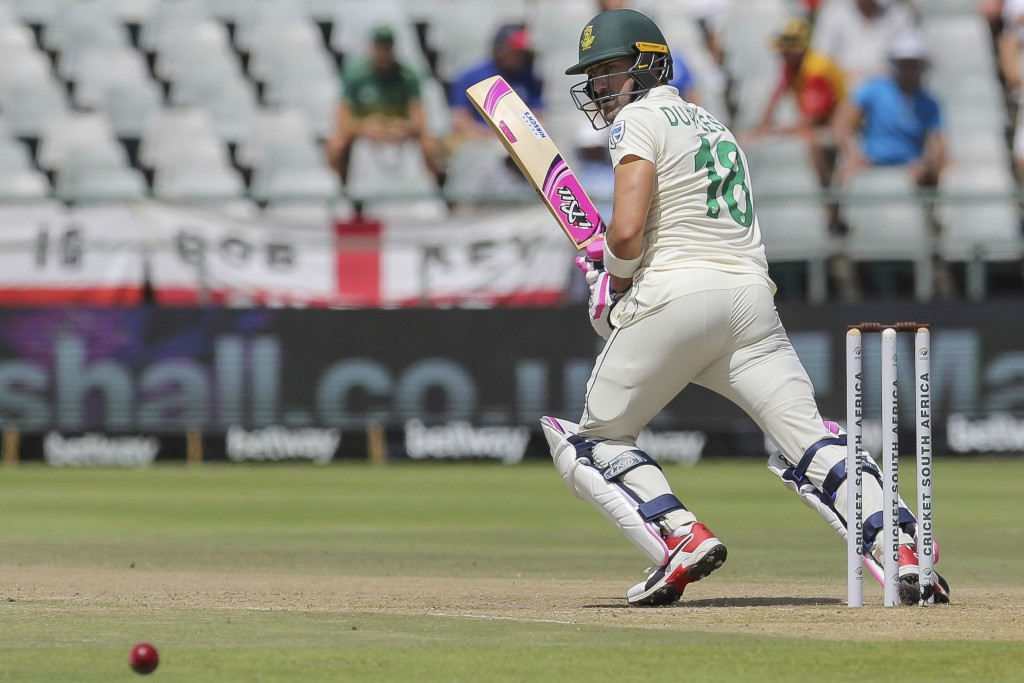 South African captain Faf Du Plessis in action during day five of the second cricket test between South Africa and England at the Newlands Cricket Sta...