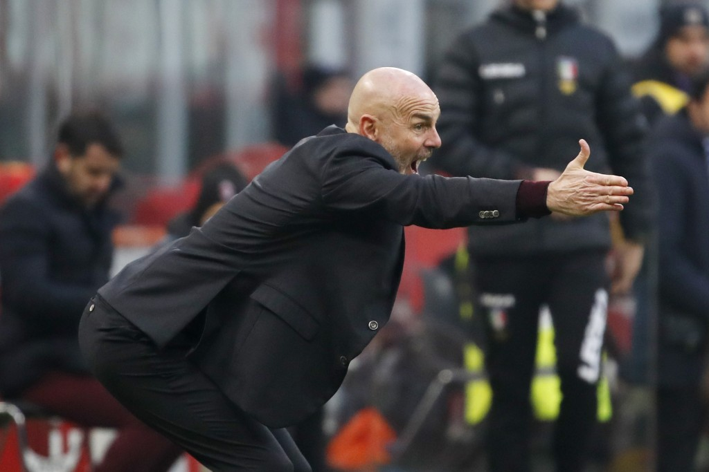 AC Milan's manager Stefano Pioli gives instructions during the Serie A soccer match between AC Milan and Sampdoria at the San Siro stadium, in Milan, ...