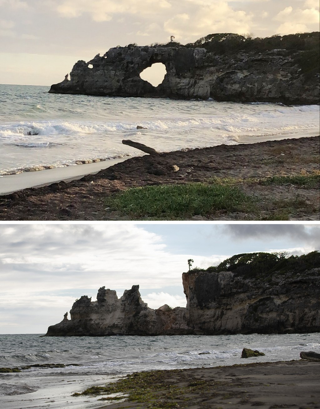 "This combo of two photos shows ""Punta Ventana,"" or Window Point, in Guayanilla, Puerto Rico on Jan. 27, 2019, top, before it fell, and after it fell o..."
