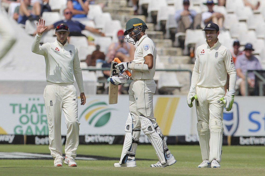 South Africa's batsman Keshav Maharaj breaks his bat off the bowling by England's bowler Jimmy Anderson during day five of the second cricket test bet...