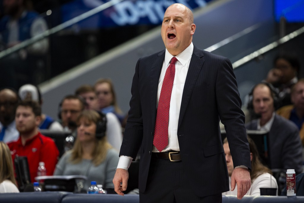 Chicago Bulls head coach Jim Boylen yells to his team during the first half of an NBA basketball game against the Dallas Mavericks, Monday, Jan. 6, 20...