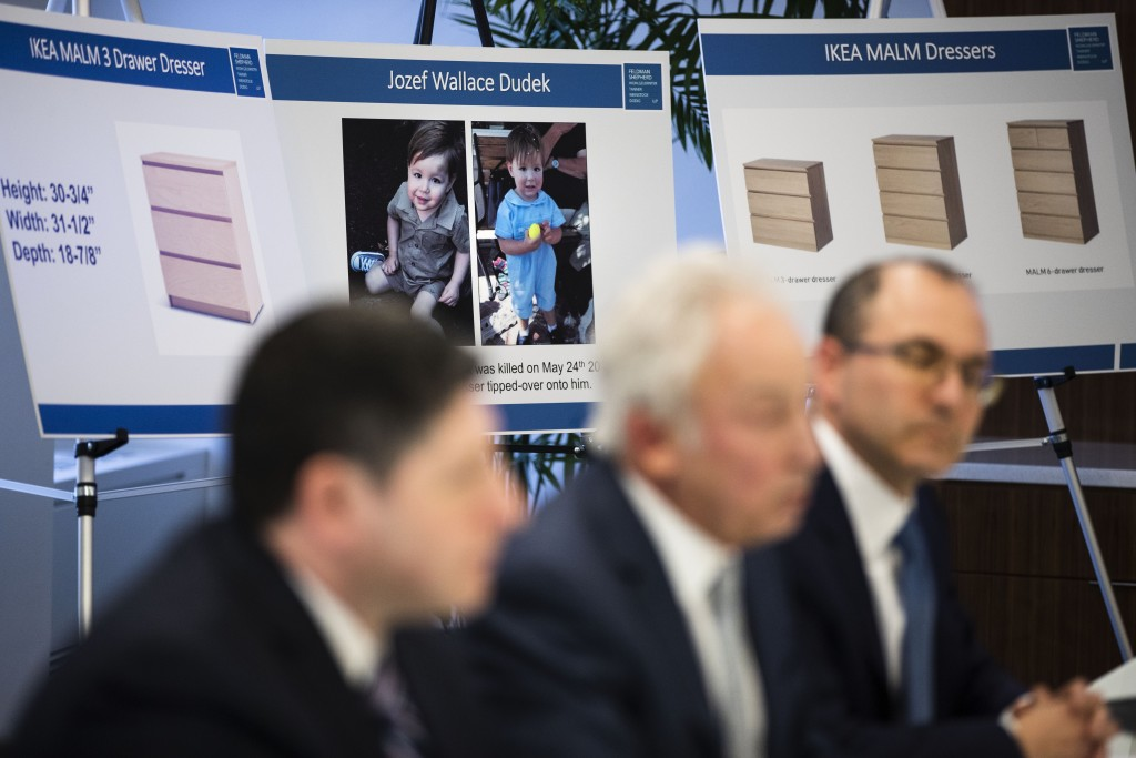 Placards showing images of Jozef Dudek and IKEA's Malm dressers are displayed during a news conference in Philadelphia, Monday, Jan. 6, 2020. IKEA has...