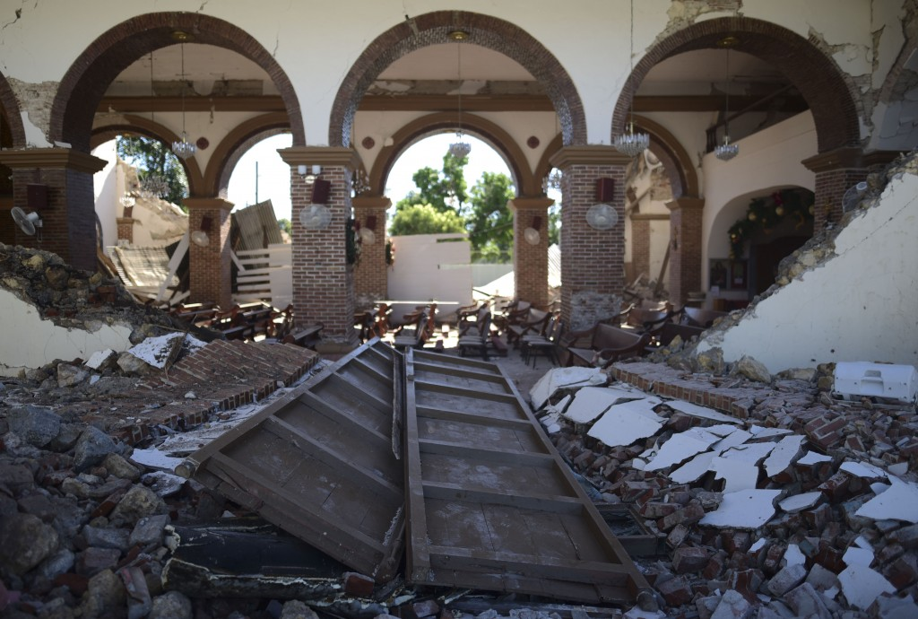 The Immaculate Concepcion Catholic church lies in ruins after an overnight earthquake in Guayanilla, Puerto Rico, Tuesday, Jan. 7, 2020. A 6.4-magnitu...